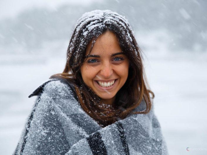 Ritratto di Claudia sotto la neve dell'Etna by Marco Di Mauro